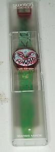 """Collector ART Swatch Watch """"Monster Time"""" GR121, Vintage 1994, Signed by Artist"""