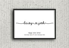 Personalised Wedding Print With Joined Up Writing! Wedding gift!