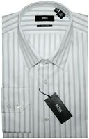 NEW HUGO BOSS SATIN WHITE w SILVER GRAY STRIPES DRESS SHIRT 16 34/35