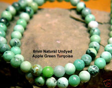 6mm 16 INCH STRAND NATURAL UNDYED APPLE GREEN TURQUOISE