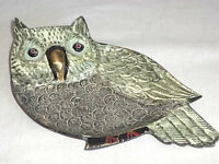 Owl Metal Art Hand Painted Brass Trinket Tray Plate Jewelry Rings India Unique
