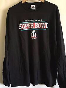 NEW NFL Super Bowl LI 51 Womens Long Sleeve Black Crewneck L Shirt Houston 2017*