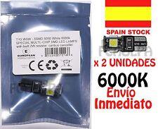 BOMBILLA LED HOMOLOGADA CANBUS T10 W5W  5 SMD 5050 BLANCO 6000K COCHE BLANCO