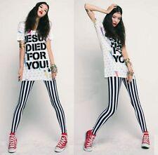 Women Girl Rock Punk Funky Gothic Vertical Stripes Zebra Leggings Pants ☆