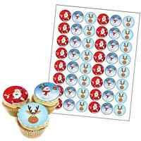 48 x MIXED PREMIUM CHRISTMAS EDIBLE FAIRY CUP CAKE TOPPERS XMAS D4