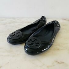 TORY BURCH Solid Black Patent Leather Ballerina Flats Large Logo - US 6.5