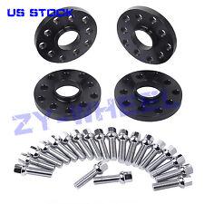 4pcs 15mm 5x100 5x112 Black Hubcentric Wheel Spacers with 20pcs 14x1.5 Lug Bolts