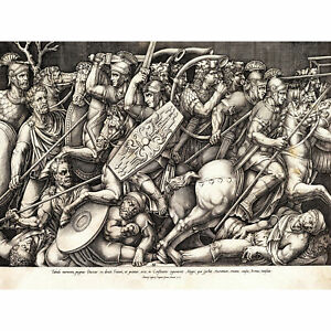 Beatrizet Roman Soldiers Fighting Dacians Engraving Huge Wall Art Poster Print