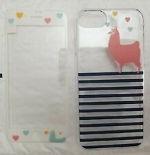 Case & Tempered Glass Screen Protector Iphone 6 6s 7 8 striped llama cute