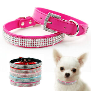 Bling Rhinestone Pet Dog Collar Crystal Cat Necklace Adjustable Small Medium Dog