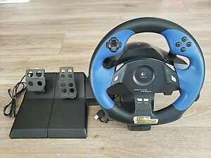 LOGITECH DRIVING FORCE FEEDBACK RACING STEERING WHEEL + PEDALS PS2 PLAYSTATION 2