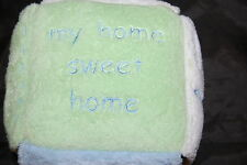 """Pottery Barn Kids PBK My Home Sweet Rattle Baby Boy Activity Plush Toy 6"""" Square"""