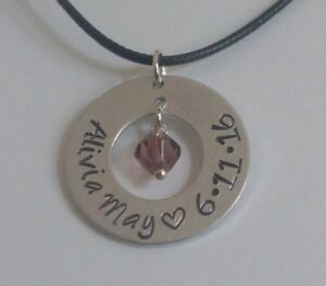 """1"""" Handmade Personalized Name Silver Aluminum Washer Necklace with Birthstone"""