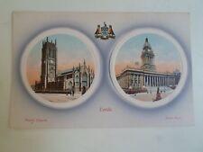 LEEDS Parish Church+Town Hall Unusual Old Binocular Type Postcard  §D591