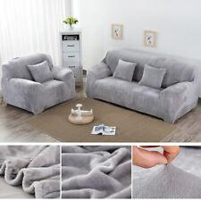 Velvet Plush Stretch Pure Color Slipcover 1 2 3 4 Seaters / L Shape Sofa Covers