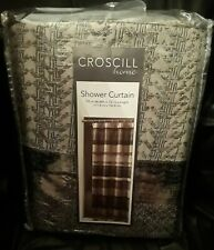 Croscill PORTLAND 54 x 78 Shower Curtain Pewter Silver Gray Black Woven Fabric
