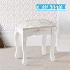 Luxury Silver&White Dressing Table Stool Piano Padded Makeup Dresser Seat