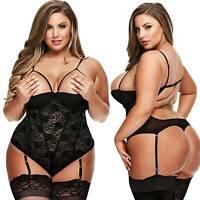 Womens Plus Size Lingerie Lace Open Cup Teddy Jumpsuit Sleepwear Babydoll Dress