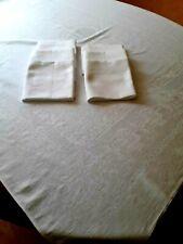 N12 ANCIEN SERVICE DE TABLE COTON DAMASSE nappe 126x134 + 6 serviettes VINTAGE