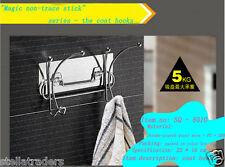 Magic Sticker Suction Wall mount Chrome Coat Hat Towel Rack Hook Clothes Hanger
