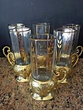 ARCOROC FRANCE VINTAGE PERSIAN TEA CUP SET OF 6  TALL CRYSTAL/GOLD LEAF DESIGN