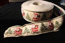 Leinenband,natur, 5 cm breit, m. gestickten Weihnachtsmotiven