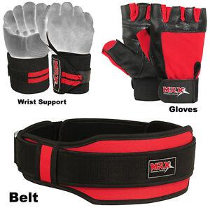 Weight Lifting Belt Gym Gloves Fitness Wrist Bandage Training Wraps MRX 3pcs Set
