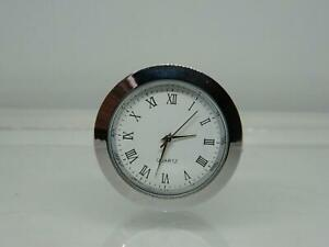 Round 37mm Replacement Clock Insert,Roman Numbers,Silver Finish,Insert 33.5-35mm