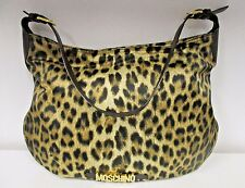 MOSCHINO BY REDWALL Vintage Nylon Leopard Print Hobo w/ Brown Leather Strap