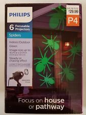 Philips 6 ct Halloween Adjustable Lens Projector with LED Bulbs Green Spiders