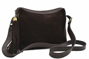Authentic GUCCI Tassel Shoulder Cross Body Bag Suede Leather Brown C8978
