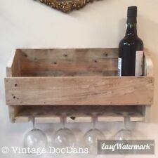 Rustic Reclaimed Wooden Wine Rack & Glass Holder