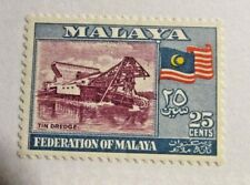 MALAYA  Sc #82 * MH postage stamp, tin dredge machine, Fine +