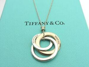 TIFFANY & CO Silver RUBEDO Metal 1837 Interlocking Circles Pendant Necklace