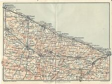 Carta geografica antica PUGLIA Costa da BARLETTA a BARI TCI 1926 Antique map