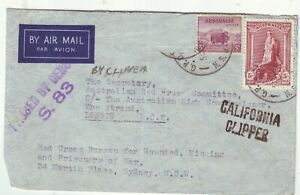 WW2 RED CROSS  WOUNDED POW & MISSING POW  AIR MAIL 1 COVER by CALIFORNIA CLIPPER