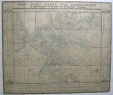 Hanser Post- und Eisenbahn-Reisekarte Deutschland kolor Orig Stahlstich 1870