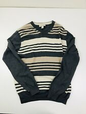 Pronto Uomo Mens Cotton Cashmere Tan/Brown Striped V Neck Sweater Size Large L