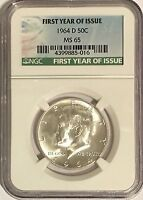 1964 D NGC MS65 SILVER KENNEDY HALF DOLLAR FIRST YEAR ISSUE LABEL 90% JFK COIN