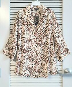 cream animal button front shirt top XL w/ anthropologie earrings