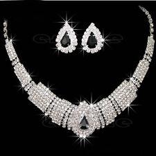 Bridal Trendy Wedding Prom Rhinestone Crystal Necklace Earrings Jewelry Set