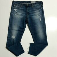 Adriano Goldschmied AG The Stilt Crop Cigarette Distressed Raw Hem Size 30