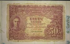 1941 MALAYA Straits Settlement KING GEORGE fifty 50 cents A4 VG G banknote tear