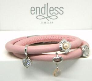 "ENDLESS Pink Rose Leather Double Wrap Sterling 4 Charm Bracelet 6.50"" Slvr Clasp"