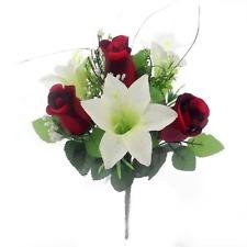 Beautiful Artificial Rosebud & Lily Bush Red/Cream | Use Indoor & Outdoor