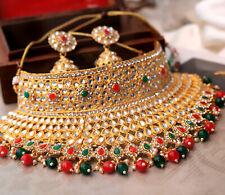 Indian Bollywood Kundan Choker Bridal Necklace Earrings Wedding Jewelry Set