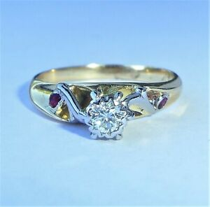 Abstract 18ct Gold 0.25ct Diamond & Ruby Ring, Size M