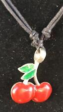 Cherry Pewter Pendant Necklace Casino Gambling Charm biker gothic feeanddave