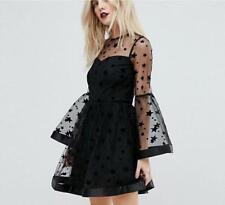 Womens Dress Mesh Black Bell Sleeve Swing Knee Length Stars Tutu Plus Sz Fashion