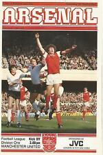 Arsenal Manchester United v-DIV 1 - 26/9/1981 - programma di calcio